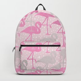 flamingos in pink and gray Backpack