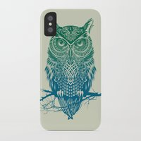 laptop iPhone & iPod Cases featuring Warrior Owl by Rachel Caldwell