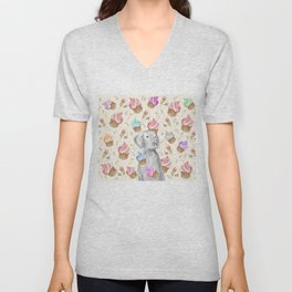 CUPCAKES AND WEIMARANER Unisex V-Neck