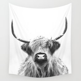 Black and White Highland Cow Portrait Wandbehang