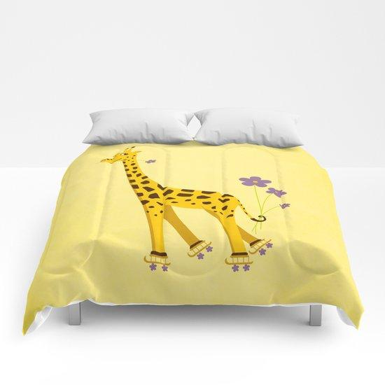 Yellow Funny Roller Skating Giraffe Comforters