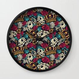 Vintage skull tattoos Wall Clock