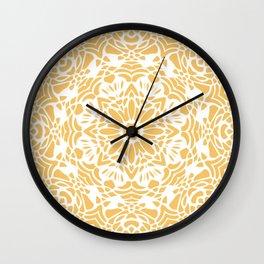 Sunny Golden Yellow and White Lace Mandala Wall Clock