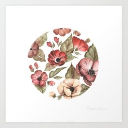 Circular Pink Florals Art Print