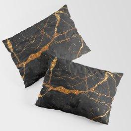 Black Malachite Marble With Gold Veins Pillow Sham