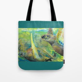 """Giant Sea Turtle Watercolor Fine Art Print Reproduction Painting """"The Lovers"""" Tote Bag"""