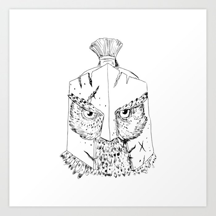Horned Owl Spartan Helmet Drawing Art Print By Patrimonio Society6