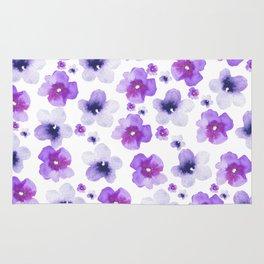 Modern purple lavender watercolor floral pattern Rug