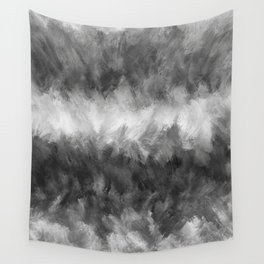 Gray White Feather Brush Abstract Wall Tapestry