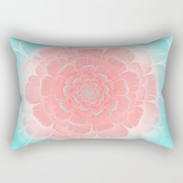 Romantic aqua and pink flower, digital abstracts Rectangular Pillow