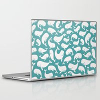 moby dick Laptop & iPad Skins featuring Moby Dick - Turquoise by Drivis