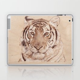 Bengal Tiger Portrait - Drawing by Burning on Wood - Pyrography art Laptop & iPad Skin