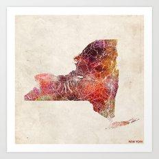New York map Art Print