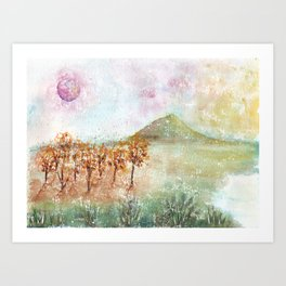 Watercolor Pink Moon Landscape Art Print