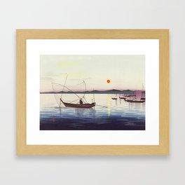Fishing boats at sunset - Vintage Japanese Woodblock Print Art Framed Art Print