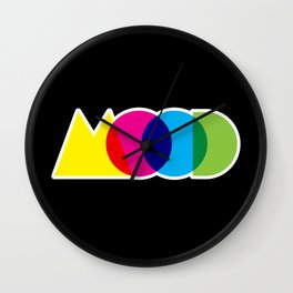Mood Meme Colorful Geometric Typography Wall Clock