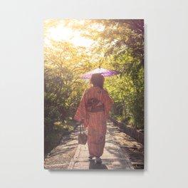 Japanese woman walking through garden in her Kimono in Kyoto, Japan Metal Print