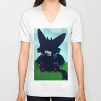 toothless V-neck T-shirts featuring Toothless by DaemonDeDevil