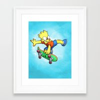 simpson Framed Art Prints featuring Bart Simpson by Joe McGro