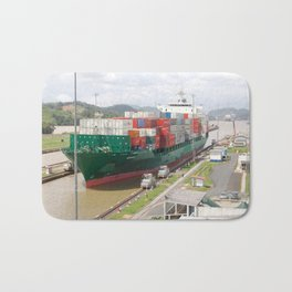 A cargo ship crossing the Miraflores locks at the Panama Canal Bath Mat