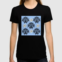 Black and White Floral Pattern Design on Blue Background T-shirt