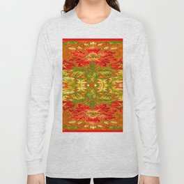French Tapestry Style Red Poppy Floral Long Sleeve T-shirt