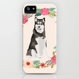 alaskan malamute floral wreath dog gifts pet portraits iPhone Case