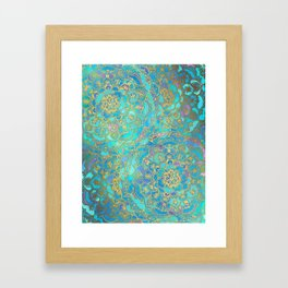 Sapphire & Jade Stained Glass Mandalas Framed Art Print