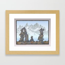 STONE KIRNS AND MOUNTAIN PEN DRAWING Framed Art Print