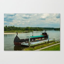 Ship on the river Wisła Canvas Print