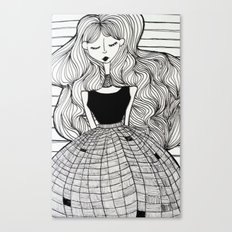Woman in checkered dress Canvas Print
