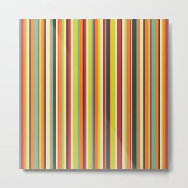 Retro stripes in bright vintage colors (mid century modern; 60s and 70s) Metal Print