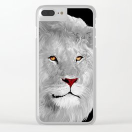 Albino Lion Clear iPhone Case