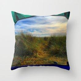 Gold Bluff Beach Camping Throw Pillow