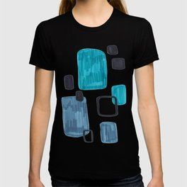 Mid Century Modern Abstract Minimalist Art Colorful Shapes Vintage Retro Style Turquoise Blue Grey T-shirt