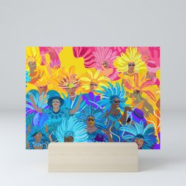 Samba Dancers. Carnival Festive Arrangement Abstract Contemporary Modern Art Colors Festival Party Mini Art Print