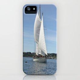 Schooner Martha Sailboat Sailing Boat Pacific Northwest Port Townsend Washington Regatta Dolphin iPhone Case