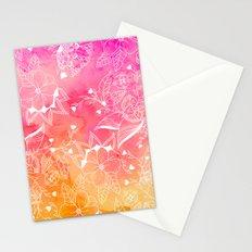 Modern summer pink orange sunset watercolor floral hand drawn illustration Stationery Cards
