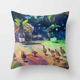 Animals walk to space Throw Pillow