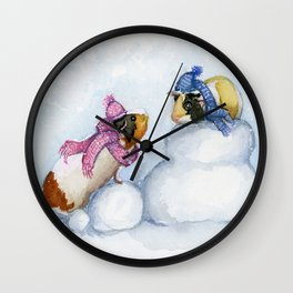 Snow Day Guinea Pigs Wall Clock