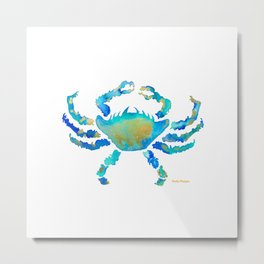Craggy Blue Crab Metal Print