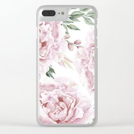 Pretty Pink Roses Floral Garden Clear iPhone Case