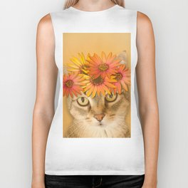 Tabby Cat with Daisy Flower Crown, Mustard Yellow Background Biker Tank
