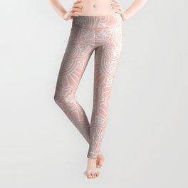 Baby Pink White Mandala Pattern Illustration Leggings