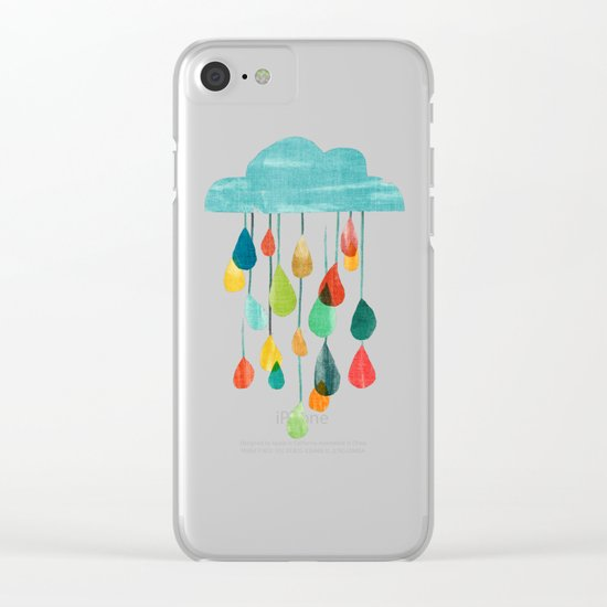 cloudy with a chance of rainbow Clear iPhone Case