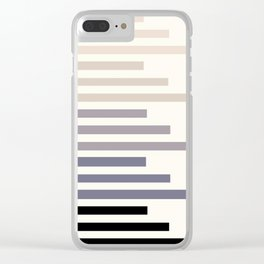 Grey Taupe Geometric Minimalist Staggered Stripes Simple Mid Century Zen Art Clear iPhone Case