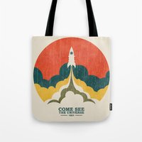 universe Tote Bags featuring Come See The Universe by Picomodi