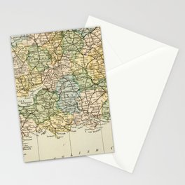 England and Wales Vintage Map Stationery Cards