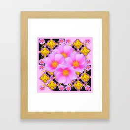 Asymmetrical Black-Pink Wild Rose Floral Pattern Framed Art Print