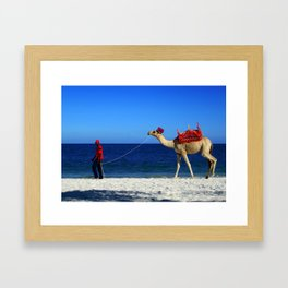 Camel Beach Framed Art Print